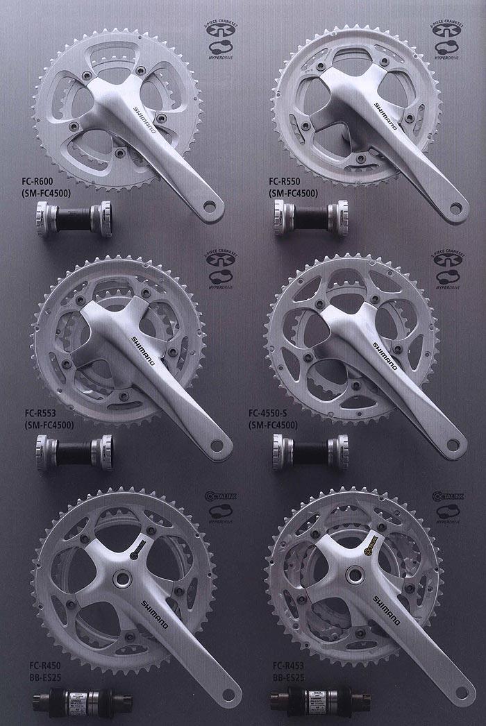 FC-R600 (SM-FC4500) FC-R550 (SM-FC4500) FC-R553 (SM-FC4500) FC-4550-S (SM-FC4500) FC-R450 BB-ES25.  Велосипедные компоненты Shimano 2010 года.