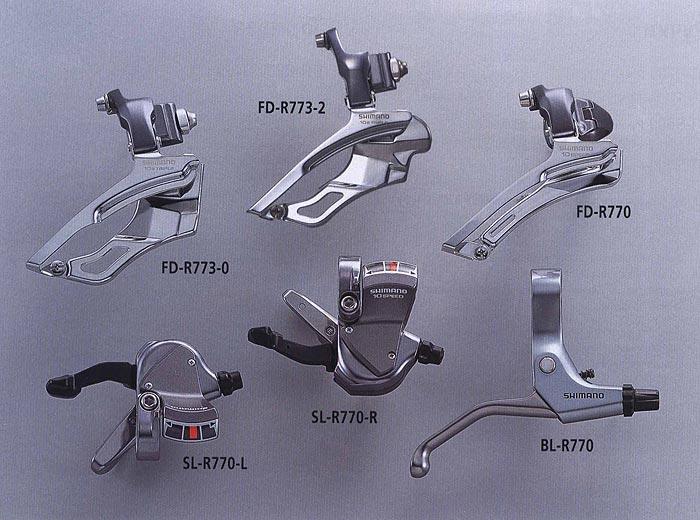 FD-R773-2 FD-R773-0 SL-R770-L SL-R770-R FD-R770 BL-R770.  Велосипедные компоненты Shimano 2010 года.