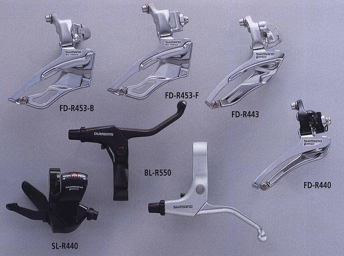 FD-R453-B FD-R453-F FD-R443 SL-R440 BL-R550 FD-R440.  Велосипедные компоненты Shimano 2010 года.