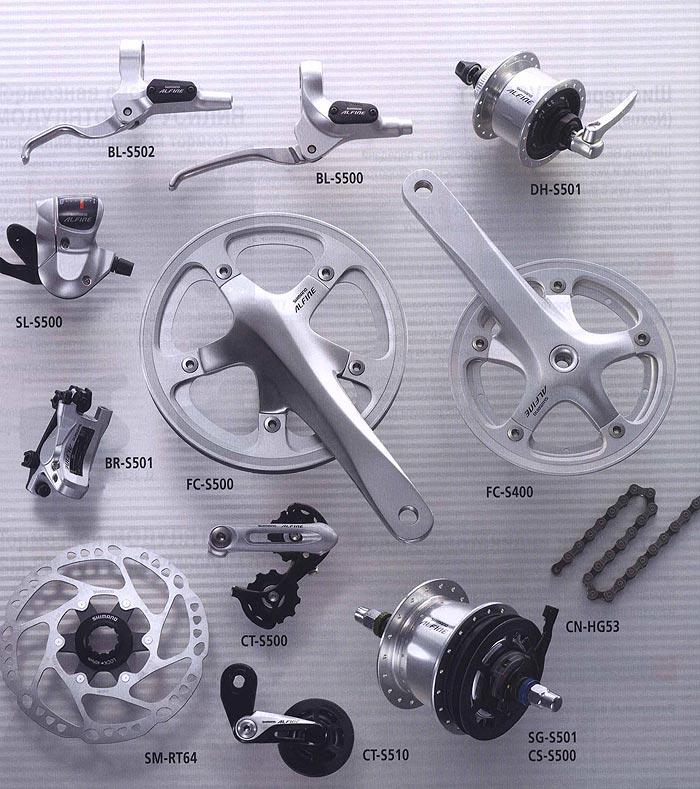 BL-S502 BL-S500 DH-S501 SL-S500 BR-S501 FC-S500 FC-S400 CT-S500 SM-RT64 CT-S510 CN-HG53 SG-S501 CS-S500. <br /> Компоненты серии Comfort. Велосипедные компоненты Shimano 2010 года.