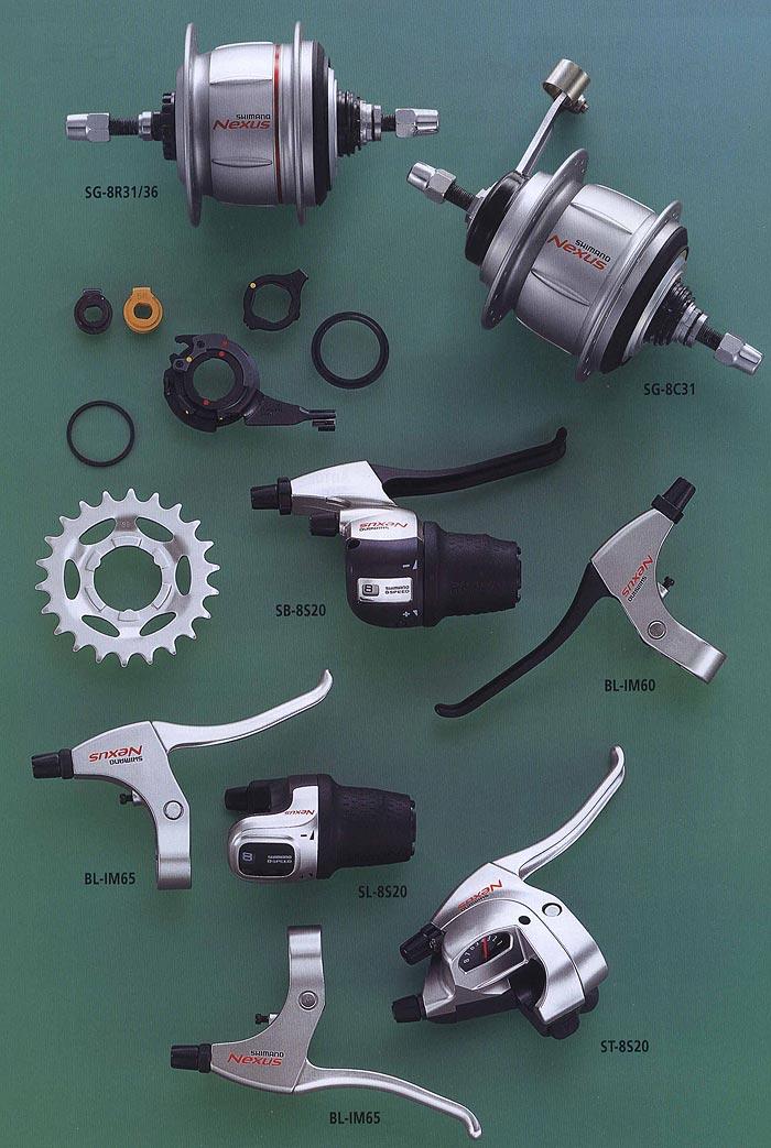 SG-8R31/36 SG-8C31 SB-8S20 BL-IM60 BL-IM65 SL-8S20 ST-8S20 BL-IM65. Компоненты серии Comfort. Велосипедные компоненты Shimano 2010 года.