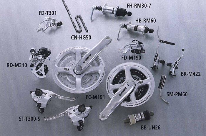 MEGARANGE FD-T301 RD-M310 ST-T300-S CN-HG50 FC-M191 FH-RM30-7 HB-RM60 FD-M190 BR-M422 SM-PM60 BB-UN26. Компоненты серии Comfort. Велосипедные компоненты Shimano 2010 года.