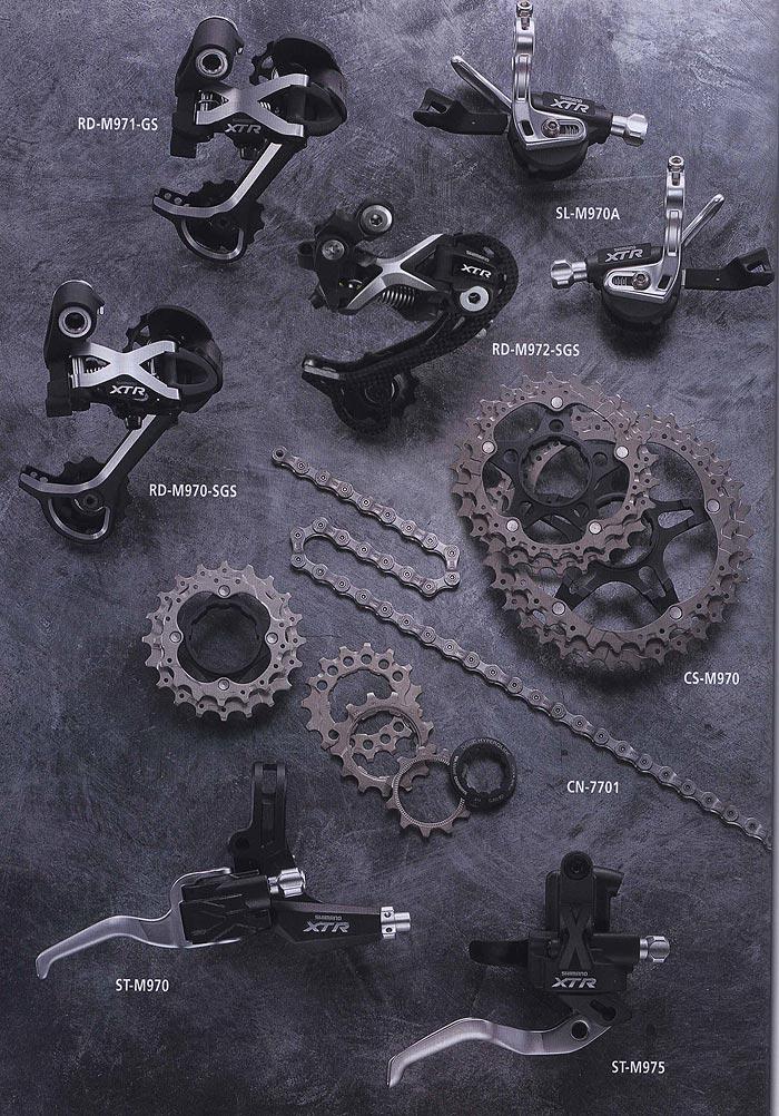 RD-M971-GS SL-M970A RD-M972-SGS RD-M970-SGS CS-M970 CN-7701 ST-M970 ST-M975. Компоненты для горного велосипеда.  Велосипедные компоненты Shimano 2010 года.