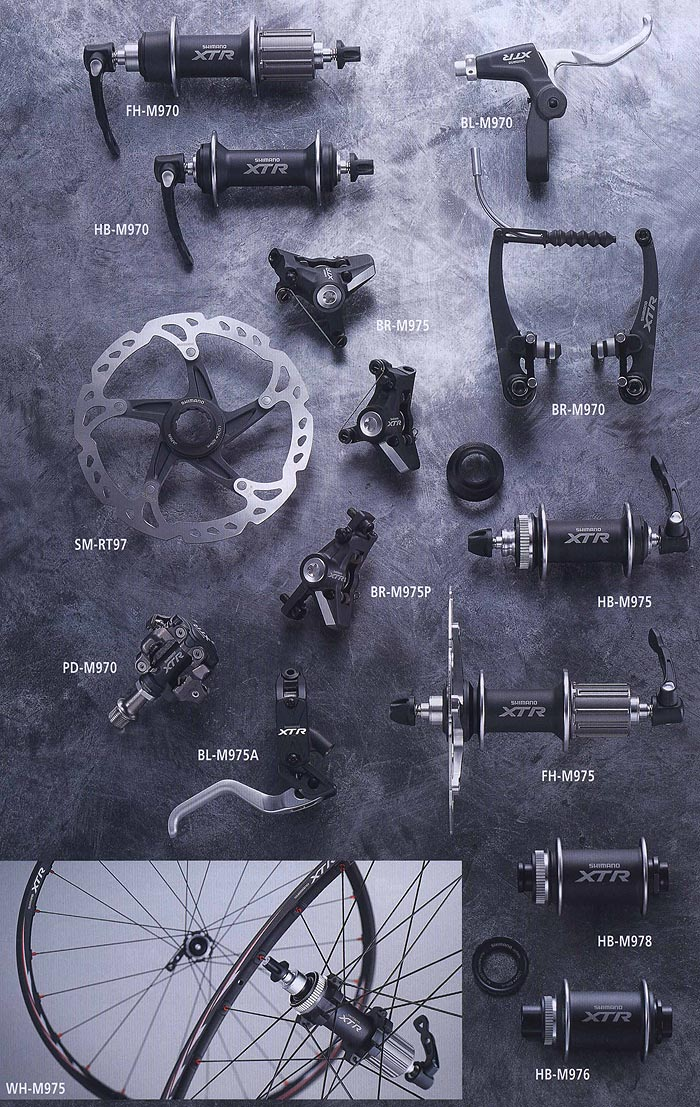 FH-M970 НВ-М970 BL-M970 BR-M975 SM-RT97 PD-M970 BR-M970  BR-M975P BL-M975A НВ-М975 FH-M975 НВ-М978 НВ-М976 WH-M975. Компоненты для горного велосипеда.  Велосипедные компоненты Shimano 2010 года.