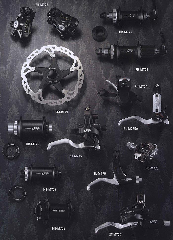BR-M775 НВ-М775 FH-M775 SL-M770 SM-RT79 НВ-М776 ST-M775 BL-M775A  BL-M770 PD-M770 НВ-М778 НВ-М758 ST-M770.  Компоненты для горного велосипеда.  Велосипедные компоненты Shimano 2010 года.