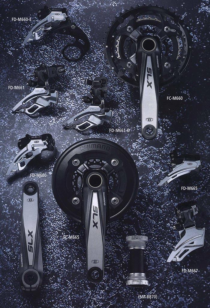 FD-M771 FD-M770-E FD-M770 FC-M770 FD-M771-D (SM-BB70) RD-M771-SGS RD-M770-GS RD-M772-SGS.  Компоненты для горного велосипеда.  Велосипедные компоненты Shimano 2010 года.