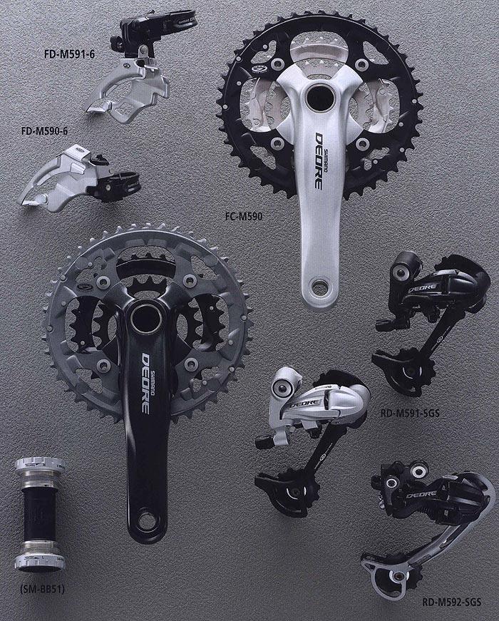 FD-M591-6 FD-M590-6 FG-M590 RD-M591-SGS (SM-BB51) RD-M592-SGS.  Компоненты для горного велосипеда.  Велосипедные компоненты Shimano 2010 года.