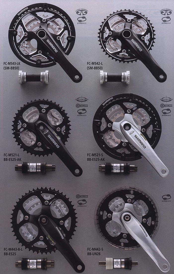FC-M543-LK (SM-BB50) FC-M542-L (SM-BB50) FC-M521-L BB-ES25-AK  FC-M521-S BB-ES25-AK FC-M443-8-L BB-ES25 FC-M442-S BB-UN26.  Компоненты для горного велосипеда.  Велосипедные компоненты Shimano 2010 года.