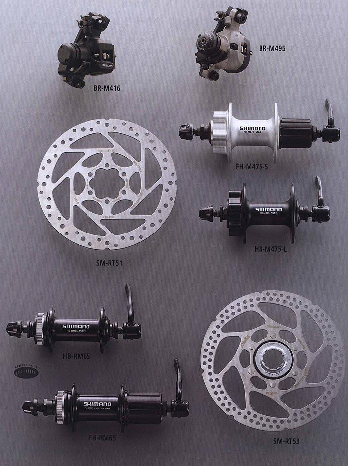 BR-M416 BR-M495 FH-M475-S SM-RT51 HB-M475-L HB-RM65 FH-RM65 SM-RT53.  Компоненты для горного велосипеда.  Велосипедные компоненты Shimano 2010 года.