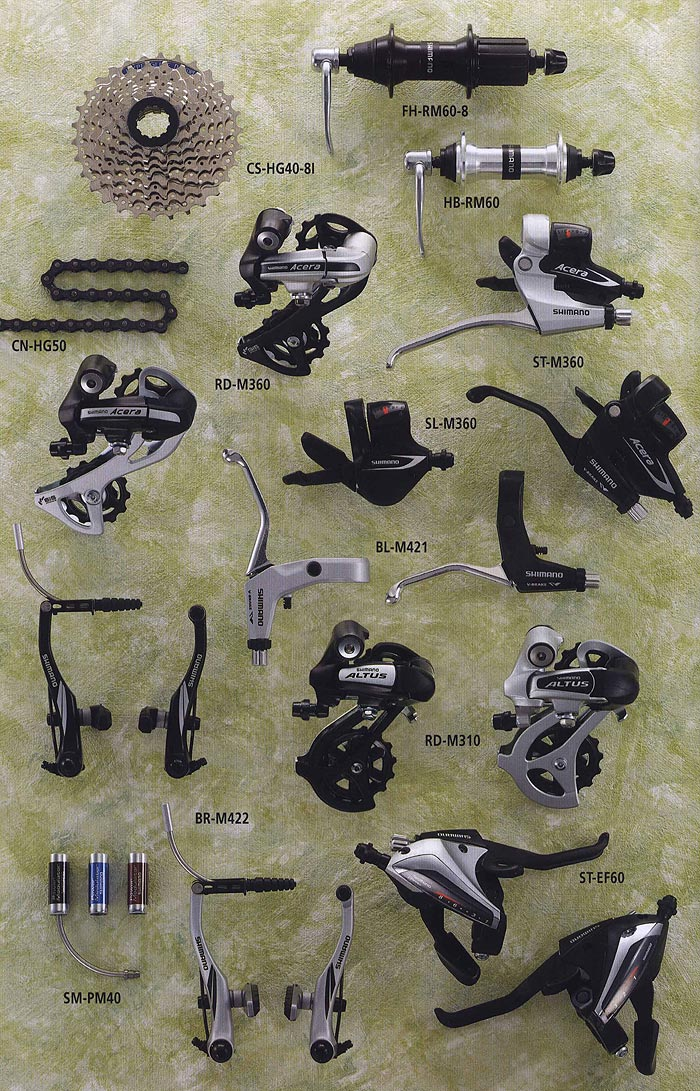FH-RM60-8 CS-HG40-8I HB-RM60 CN-HG50 RD-M360 ST-M360  SL-M360 BL-M421 BR-M422 RD-M310 ST-EF60 SM-PM40.  Велосипедные компоненты Shimano 2010 года.