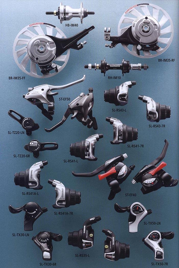 HB-IM40 BR-IM35-FF RH-IM10 BR-IM35-RF ST-EF50 SL-TZ20-LN SL-RS43-L SL-RS43-7R SL-RS41-7R SL-RS41-L  SL-TZ20-6R SL-RS41A-L SL-TX30-LN SL-RS41A-7R ST-EF40 SL-TX30-6R SL-RS35-L SL-TX50-LN SL-TX50-7R.  Велосипедные компоненты Shimano 2010 года.